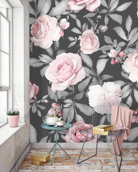 Removable Wallpaper Mural Peel Stick Watercolor Large Peony Mural Wallpaper Removable Wallpaper Mural