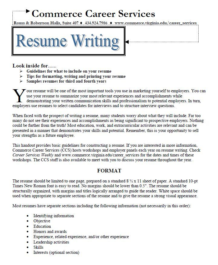 Our resume writing handout Business Pinterest - standard resume samples