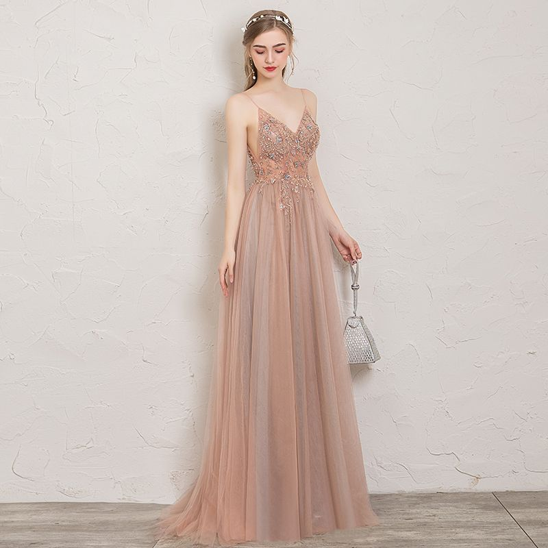 Chic  Beautiful Pearl Pink Evening Dresses 2019 ALine  Princess Spaghetti Straps Beading Crystal Pearl Sequins Sleeveless Backless Split Front FloorLength  Long Formal Dr...