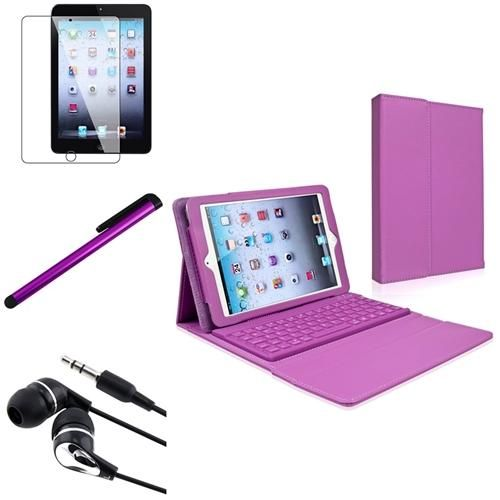 INSTEN 4 in 1 Purple Leather Case w/Bluetooth Keybord Stylus Headset For iPad Mini Review Buy Now