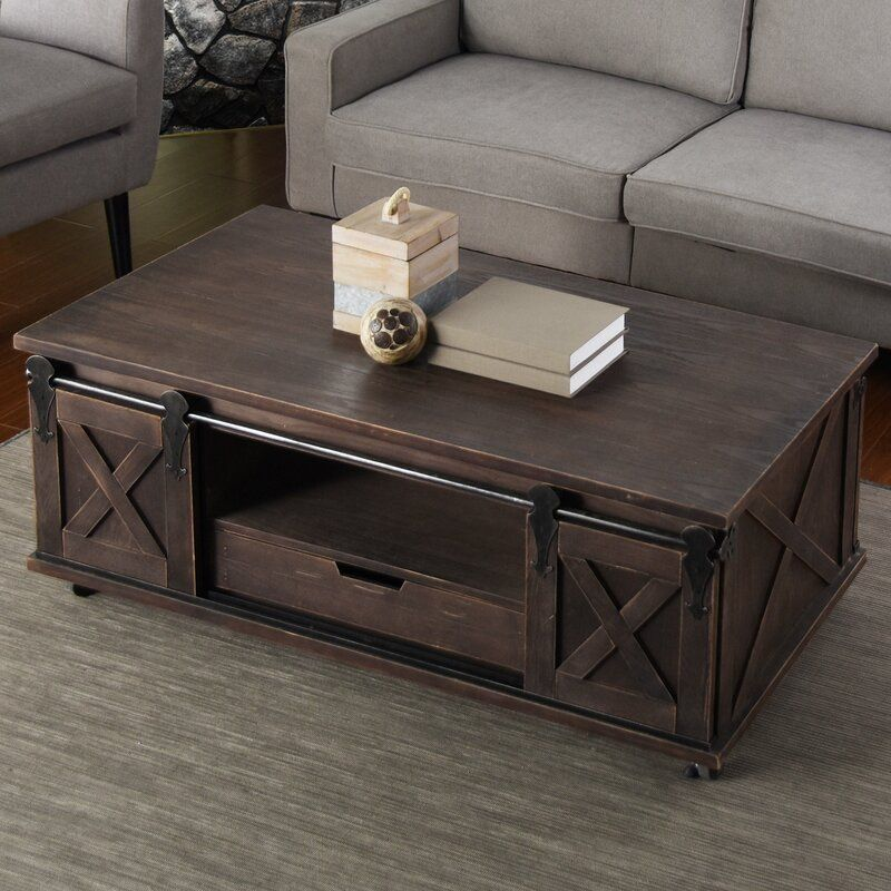 Magnus Solid Wood Wheel Coffee Table with Storage | Coffee ...