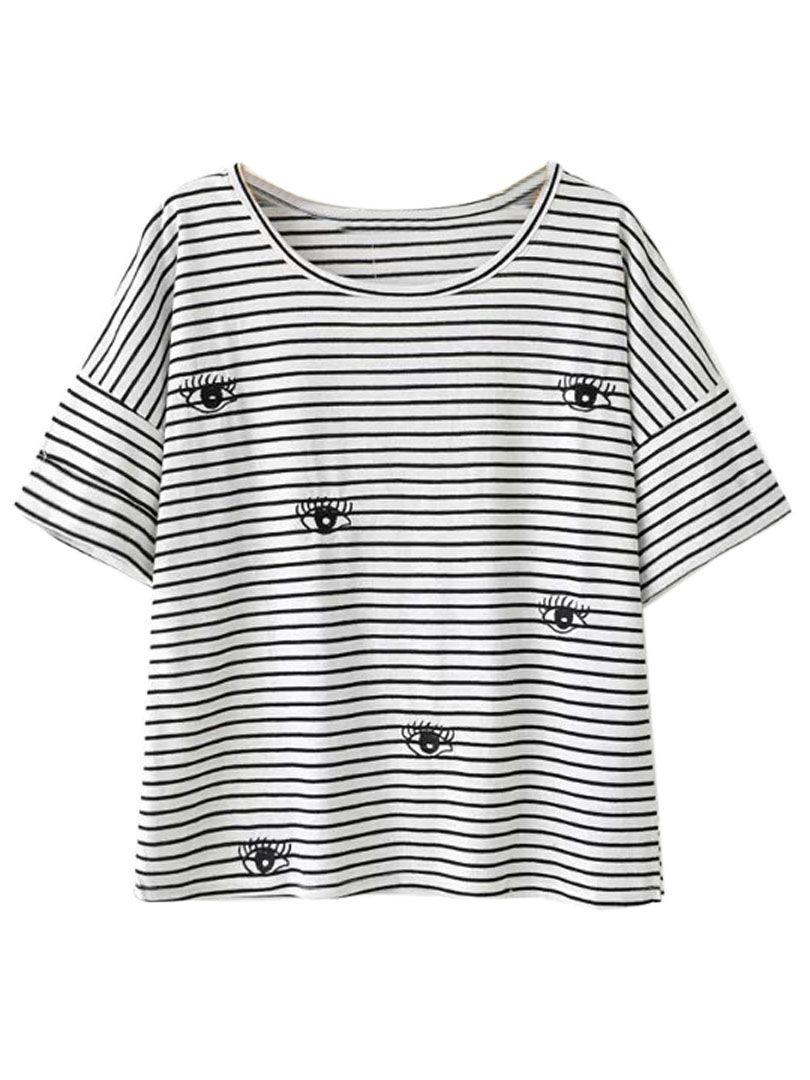 Black and white stripe eye pattern short sleeve t shirt choies black and white stripe eye pattern short sleeve t shirt choies ccuart Images