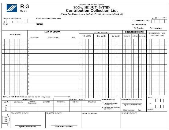 Download SSS R3 Contribution Collection List in Excel Format - I - payslip template download