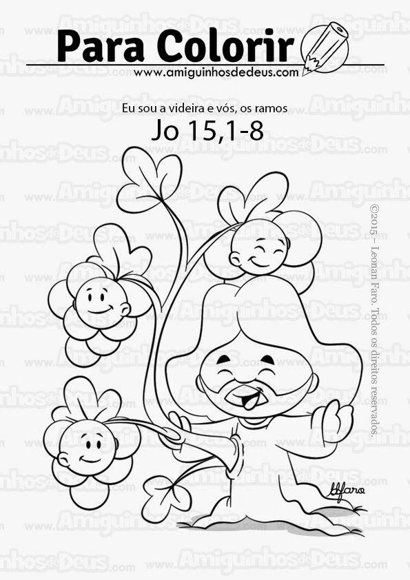 jesus e vinha e nos os ramos desenho para colorir evangelho para