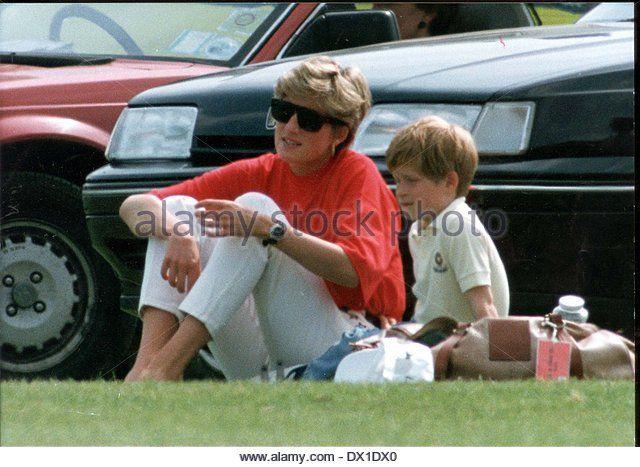 Princess Diana And Prince Harry At Polo Match At - Stock Image