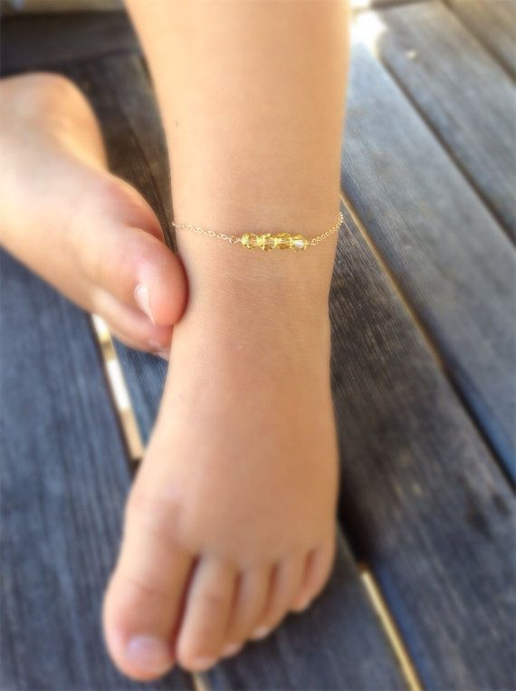Sterling silver and Crystal baby ankle braceletbaby girl jewelry