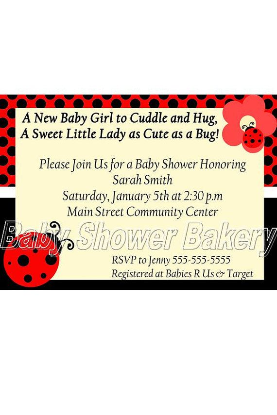 Completely customized and printable ladybug baby shower invitations completely customized and printable ladybug baby shower invitations filmwisefo