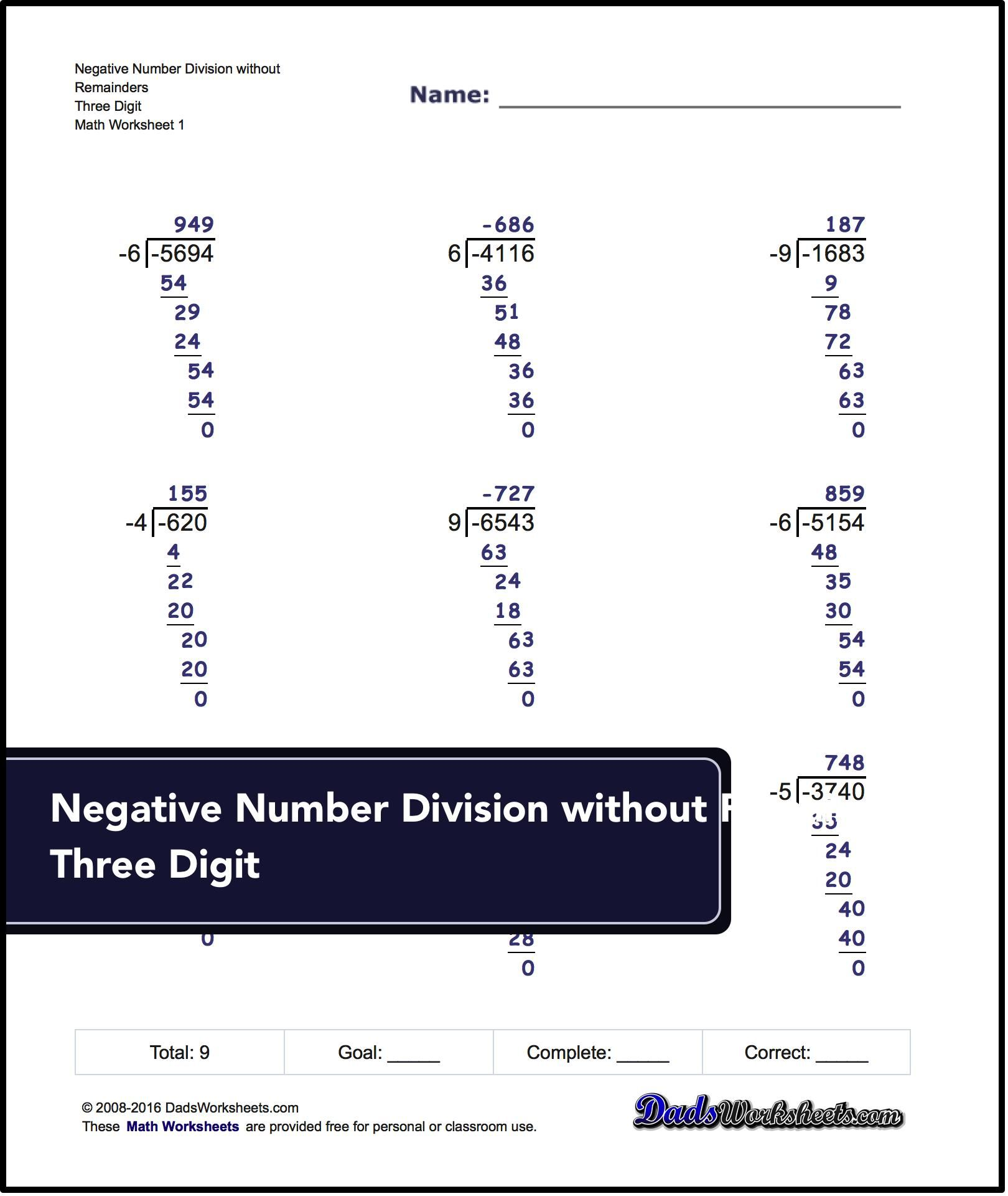 Negative Numbers Worksheets For Long Division