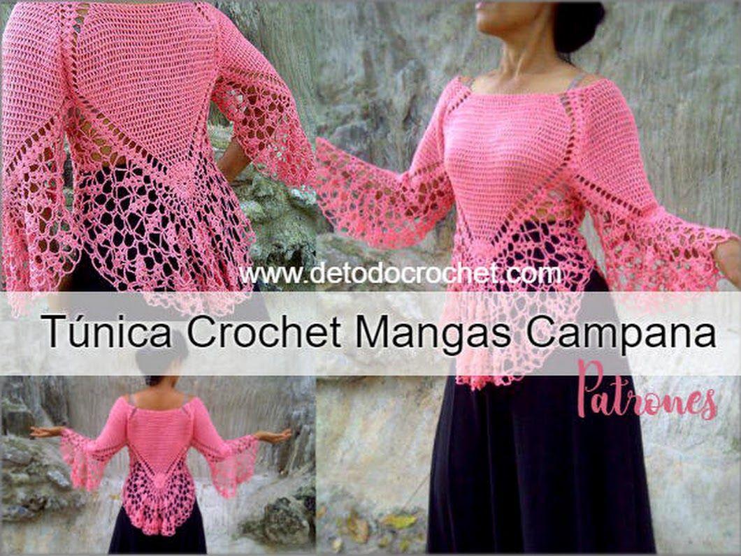 Blusa Crochet con Manga Campana / Patrones | blusa | Pinterest