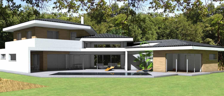 Maison contemporaine d 39 architecte toiture tuiles noires for Toiture maison contemporaine