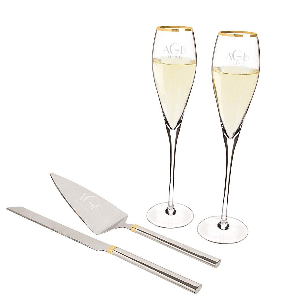 31d7e6361f28 Crafted zinc alloy, stainless steel and gold-platting, these gold champagne  flutes and serving set are personalized with custom engraved large single  ...