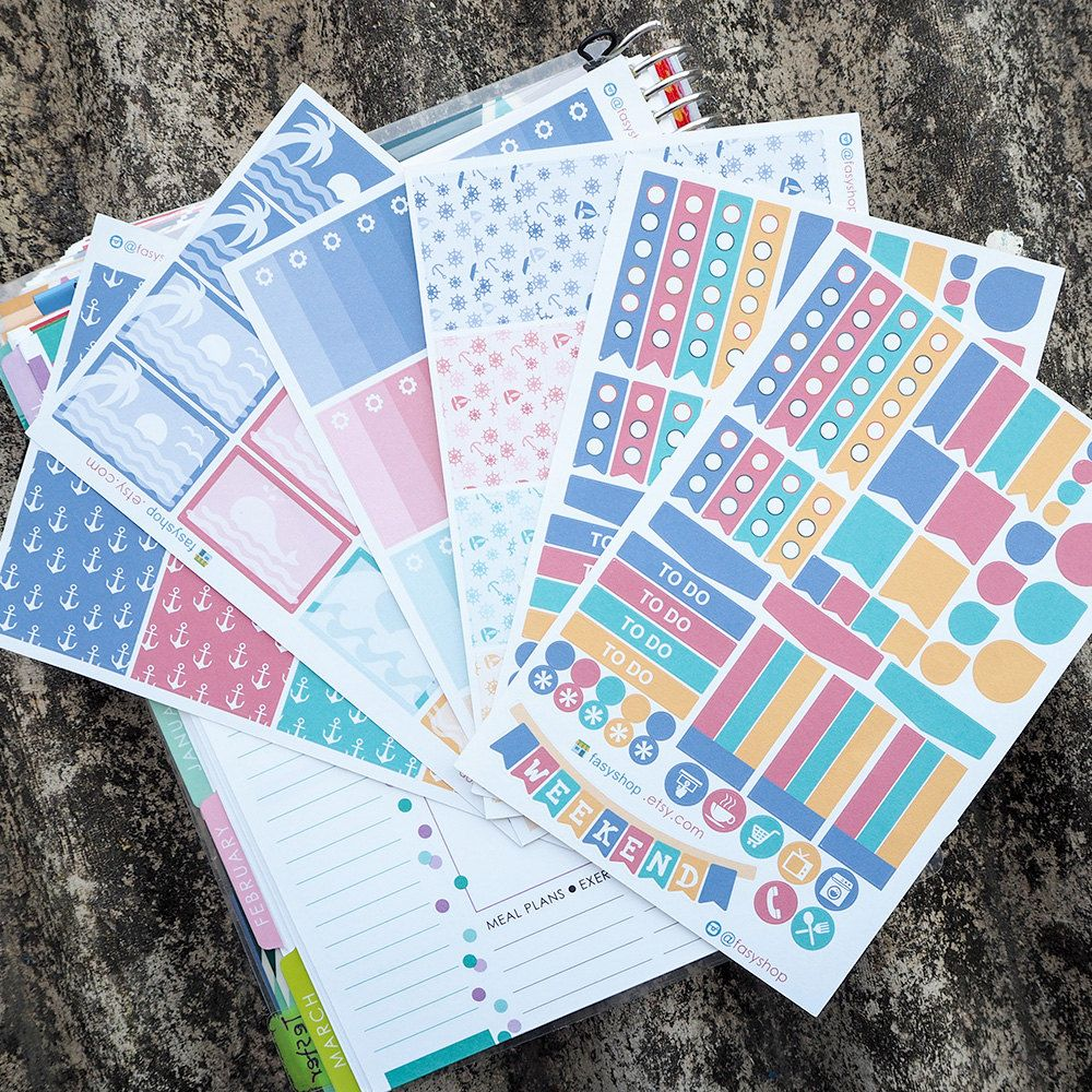 Nautical Jumbo Essential Kits Sticker Planner // Perfect for Erin Condren Life Planner by FasyShop on Etsy