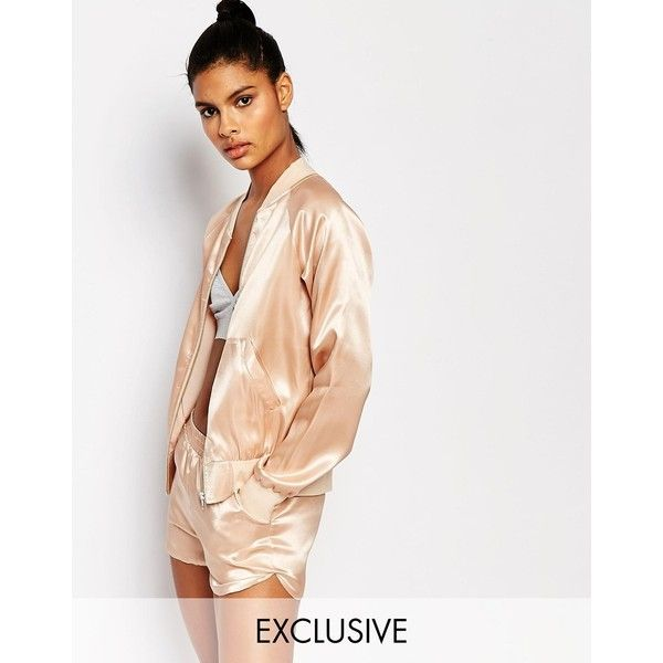 Story Of Lola Silky Bomber Jacket (212.590 COP) ❤ liked on Polyvore featuring outerwear, jackets, beige, pink bomber jacket, beige jacket, blouson jacket, zip jacket and flight jacket
