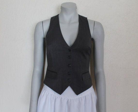 Women/'s Vest Grey Vest Checkered Gray Vest Womens Waistcoat  Steampunk Formal Fitted Waistcoat Victorian Renaissance Baroque Edwardian Large