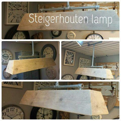 Steigerhouten hanglamp met steigerpijpen . getoond 100 cm, elke maat en ophanging mogelijk.