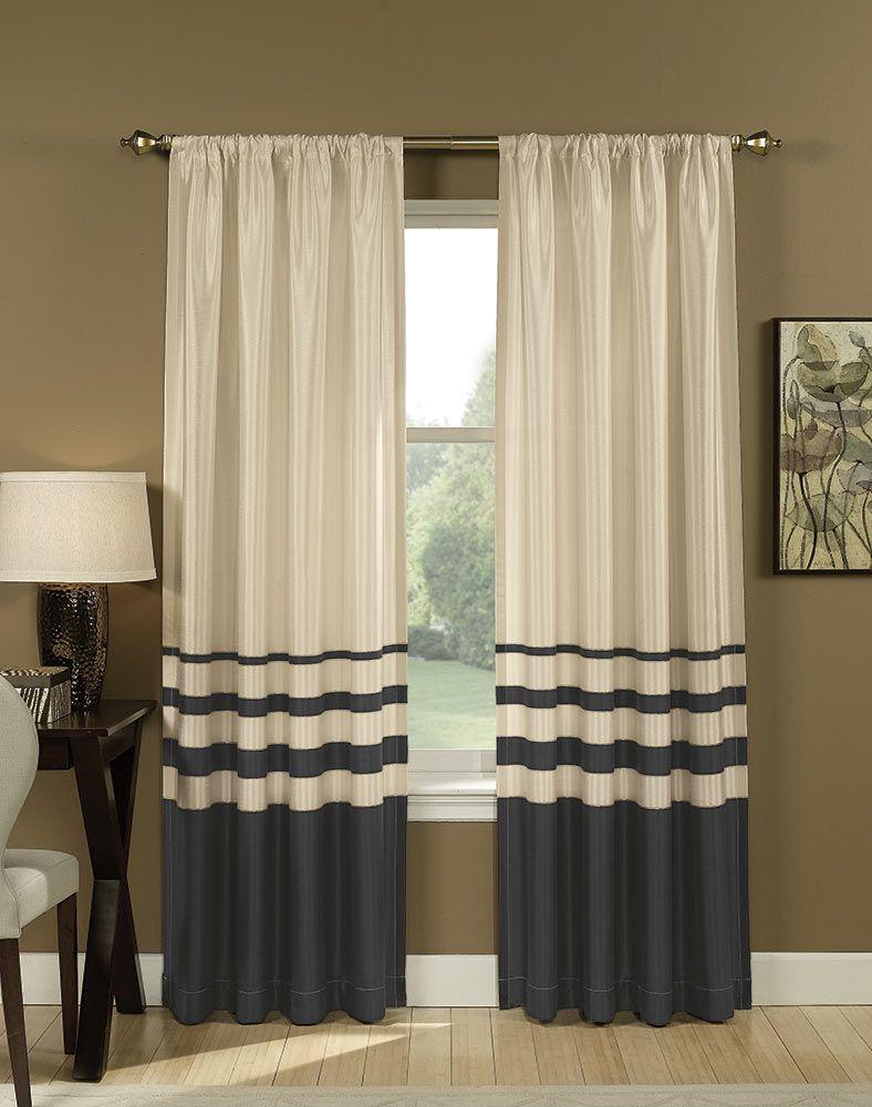Horizontal stripe curtains - Salon Faux Silk Striped Curtain Panel Curtainworks Com