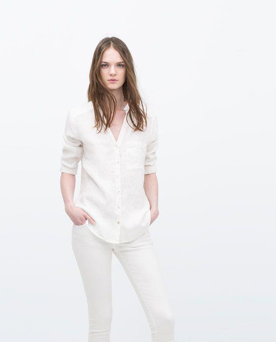 ab62e4fb Image 1 of LINEN BLOUSE from Zara | Style | Linen blouse, Shirt ...