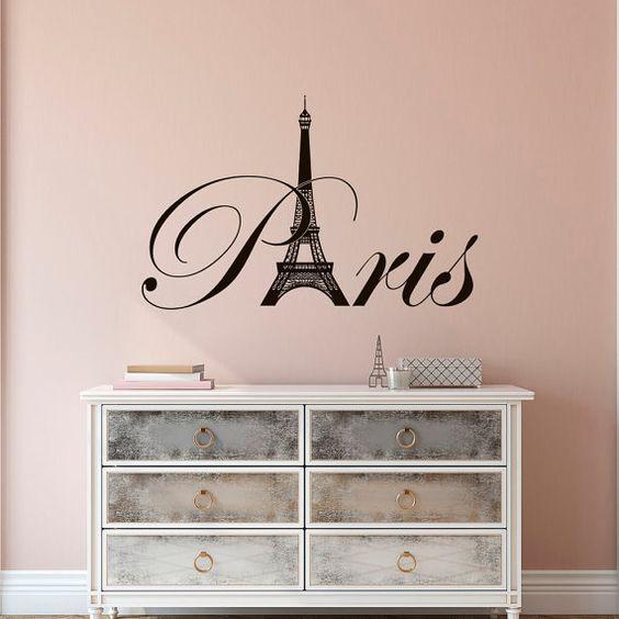 Paris Eiffel Tower Vinyl Wall Decal- Paris Theme Bedroom Decor ...