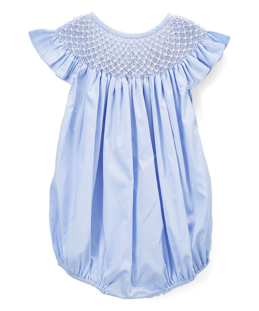 Look at this Barefoot Children's Clothing Blue Pearl Angel-Wing Bubble Romper - Infant & Toddler on #zulily today!