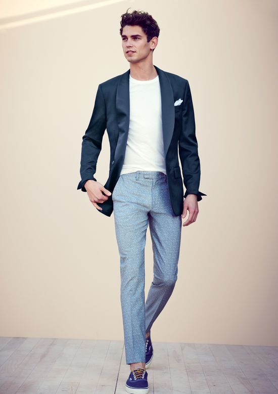Men's Navy Blazer, White Crew-neck T-shirt, Light Blue Dress Pants ...