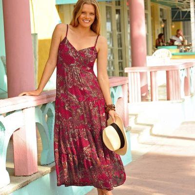 Robe Longue Imprimee En Voile Blancheporte Robe Grande Taille Idees Vestimentaires Robe Maxi