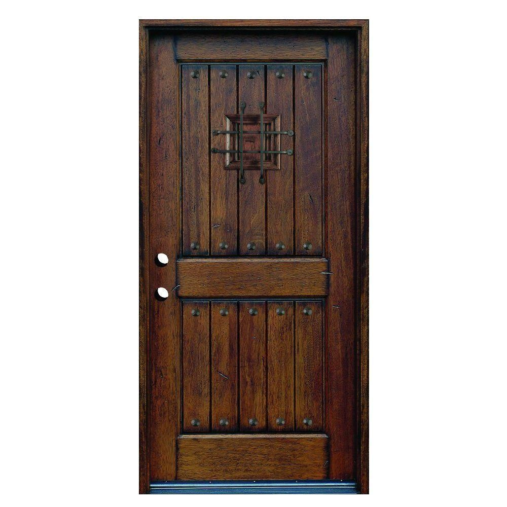 Round top pre hung mahogany doors top of the line - Rustic Mahogany Type Stained Distressed Solid Wood Speakeasy Prehung Front Door