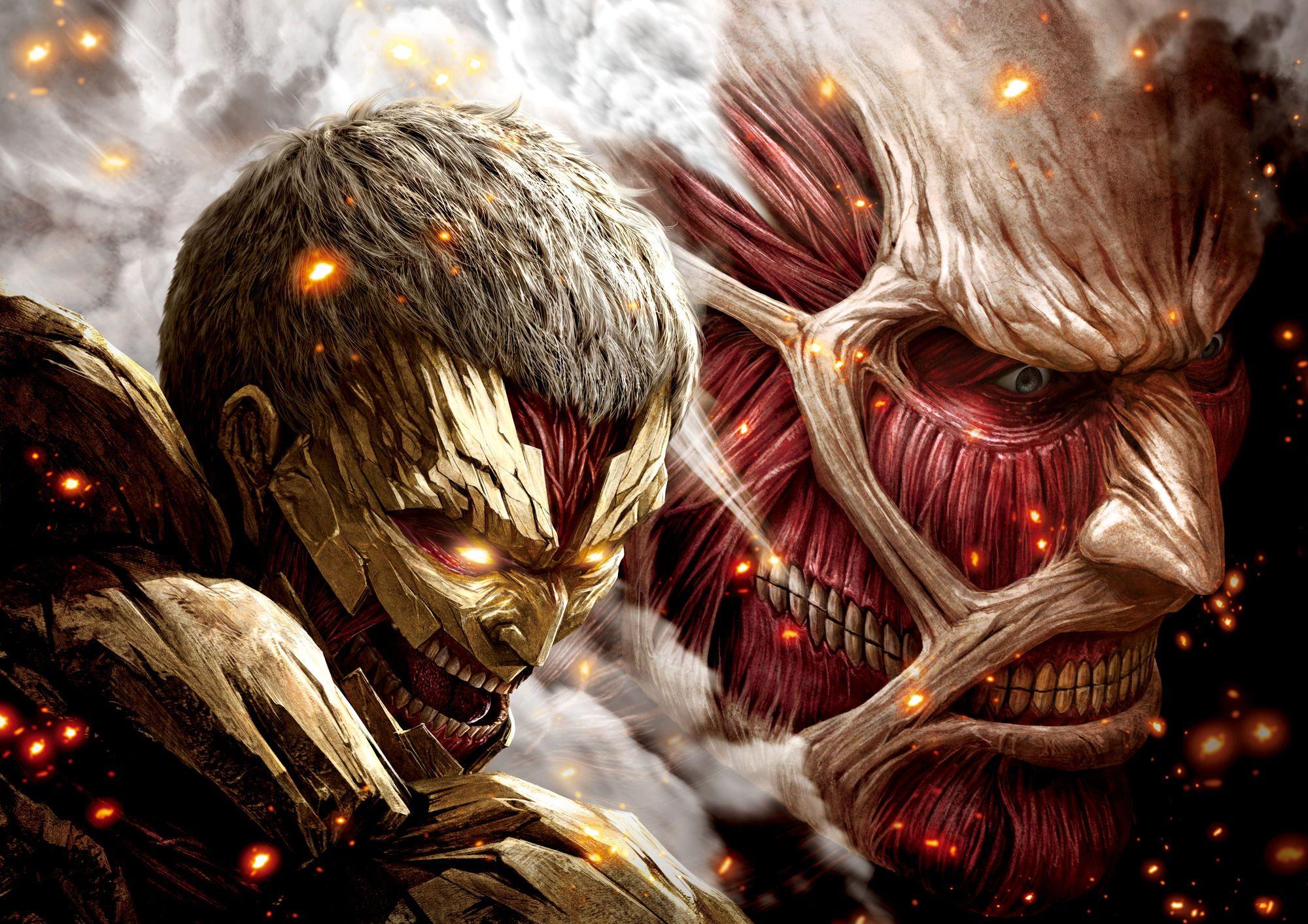 Armoured Titan And Colossal Titan Anime Ataque Dos Titas