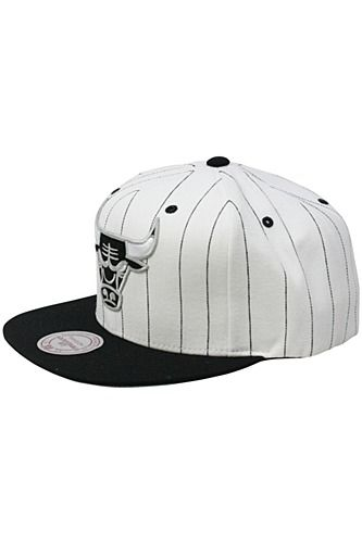 ... 2-Tone Chicago Bulls Snapback Hat From Mitchell   Ness Features  Color   White - Black - Grey - Solid Brim and Cap - Pinstriped Cap -Team logo  embossed 94fdfe7afc4