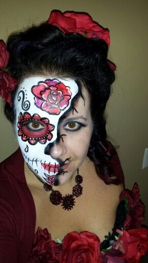 Day of the dead face paint by Melissa Drobnis www - face painting halloween makeup ideas