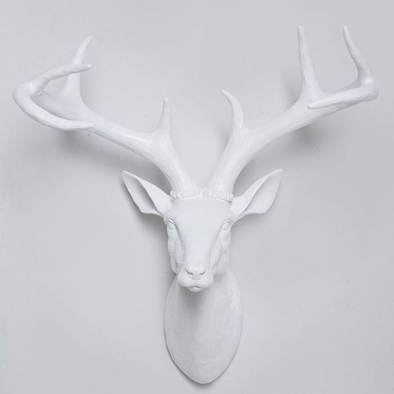 White Faux Deer Head Wall Mount Stag With Antlers
