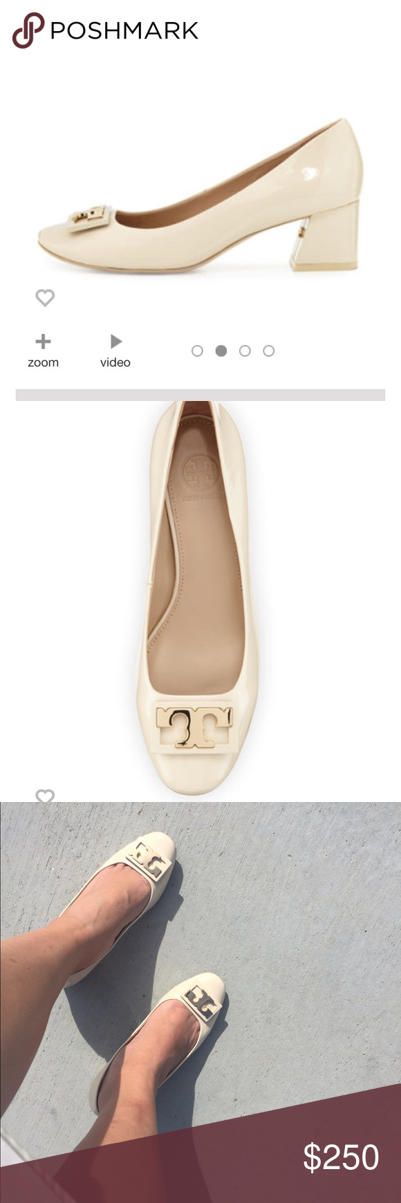 Tory Burch Beige shoes Used twice.  Purchased at Neiman Marcus. Selling only since it's a bit tight. perfect condition. Patent and beige color.  Mid heel so it's perfect for everyday wear. Tory Burch Shoes Heels