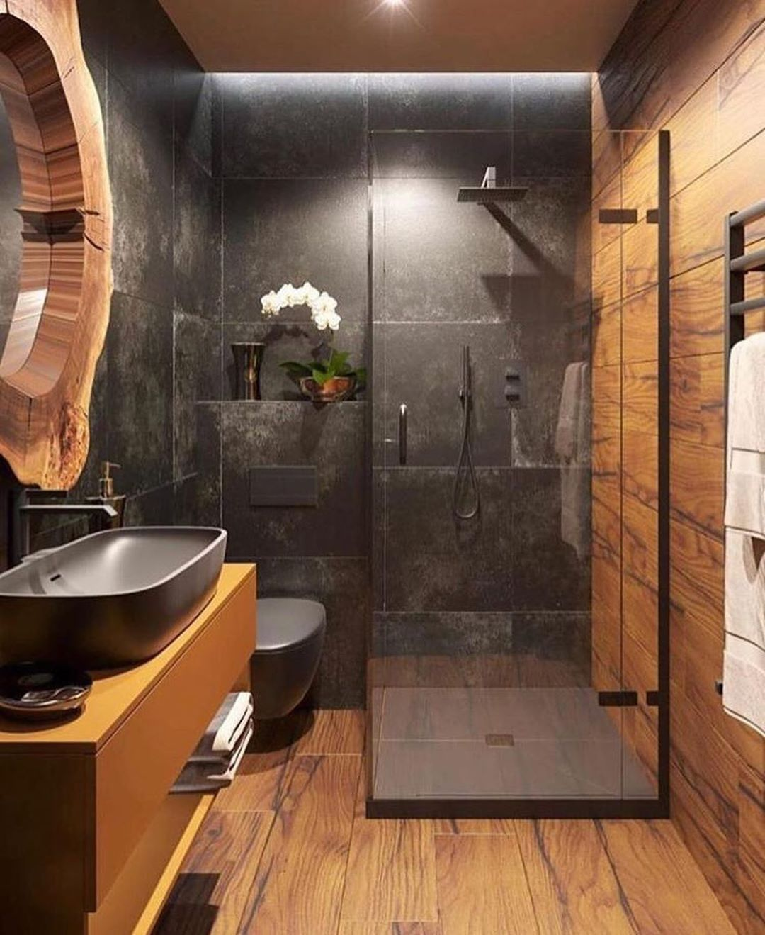 52 Rustic Bathrooms That Will Inspire Your Next Makeover Modern Rustic Bathroom Japanese Bathroom Design Minimalist Small Bathrooms Bathroom Renovation Shower
