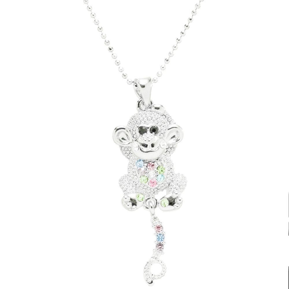 Monkey Gemmed Body Necklace-Multi Colored Stones
