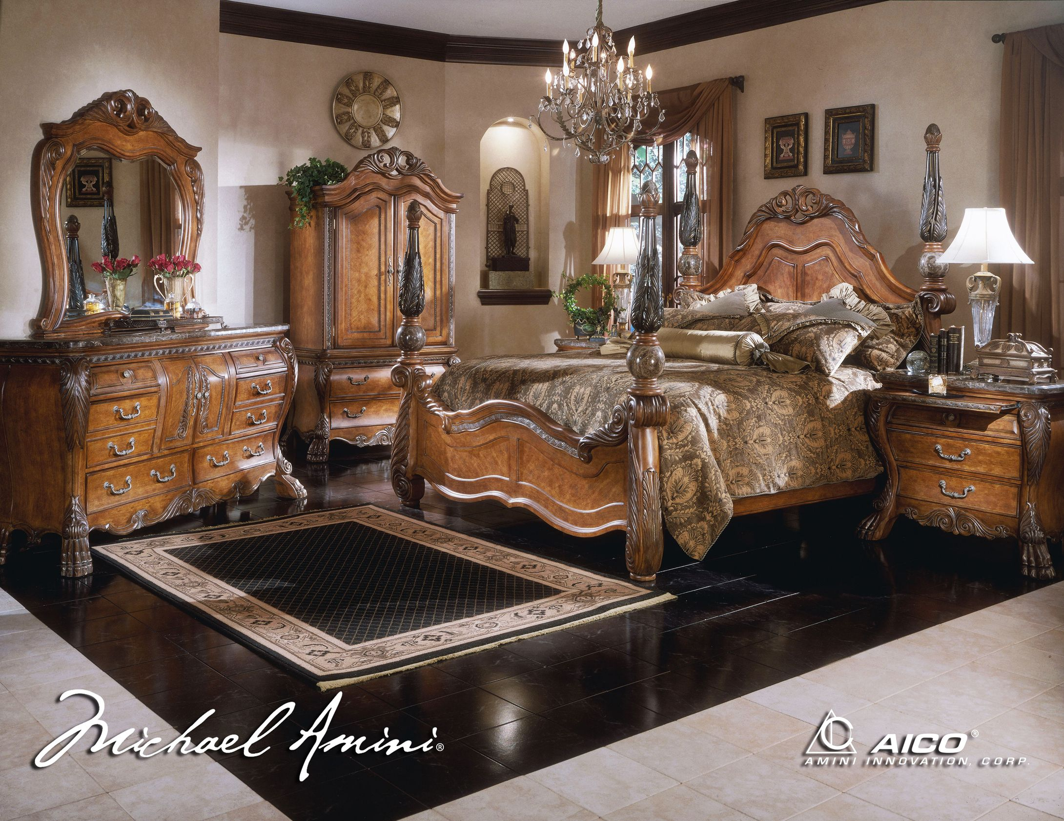 Exceptional Four Poster Bedroom Sets | ... Poster Bedroom Set In Amaretto Finish  2180x1682 King
