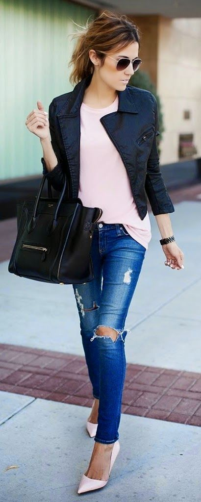 Stlye Me Hip: Pink Tee with Leather Moto and Ripped Jeans | Chic...