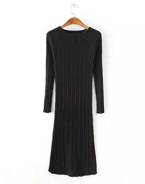 3b446da212 Women Twisted Back Slit Sweater Dress Solid Color Kleding jerseis ...