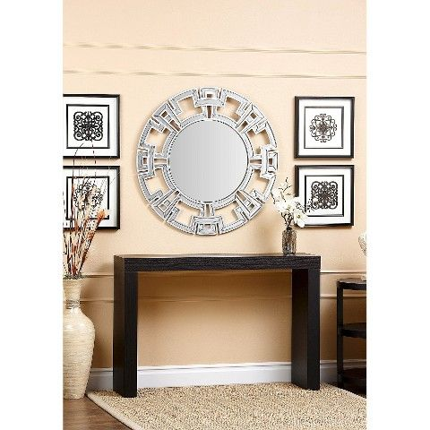 Abbyson Kaydence Round Mirror Silver Silver Wall