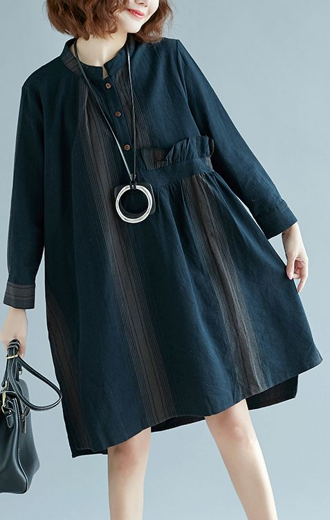 43cd514774f44 New blue striped cotton linen dress trendy plus size casual long ...