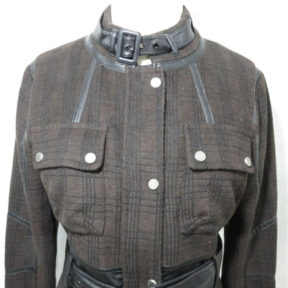 Walter Baker Plaid M Wool Faux Leather Cafe Moto Black