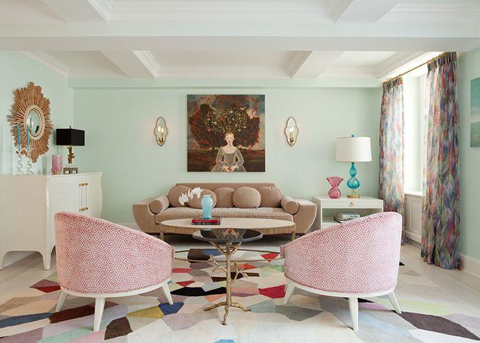 Living Rooms   Julian Chichester Hobbs Mirror Mint Green Walls Milk  Chocolate Velvet Vintage Sofa Vintage