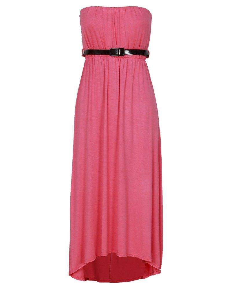 02bf702858 Pink Boob Tube Dipped Hem Midi Dress w Belt