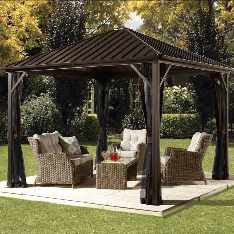 Aluminum Patio 10 X 10 Ft Gazebo Galvanized Steel Roof Garden Sun Shelter Aluminumpatio10 Patio Gazebo Outdoor Pergola Backyard Gazebo