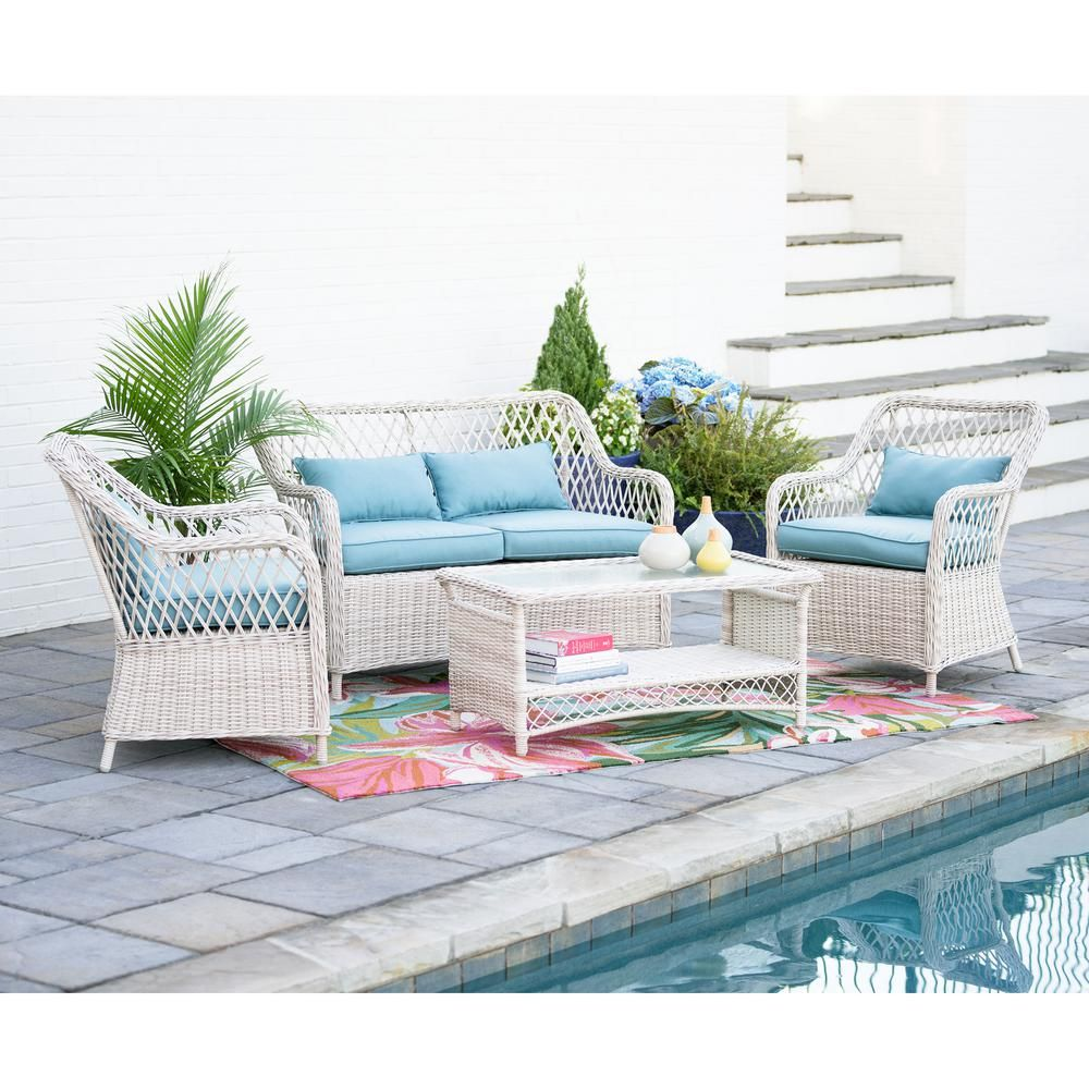 Super Leisure Made Lakeland 4 Piece Wicker Patio Conversation Set Alphanode Cool Chair Designs And Ideas Alphanodeonline