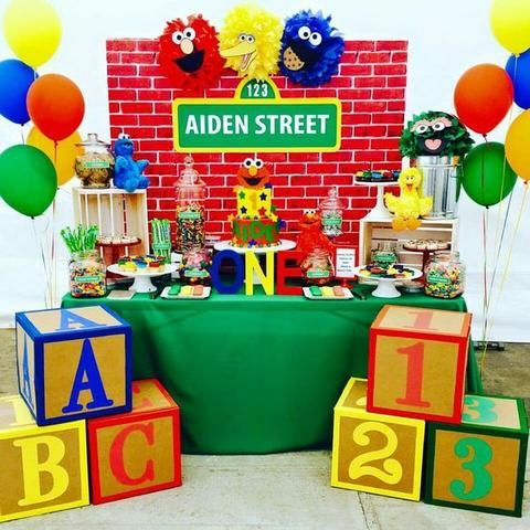 First birthday inspiration sesame street theme party sesame sesame street first birthday party boy decorations supplies solutioingenieria Image collections