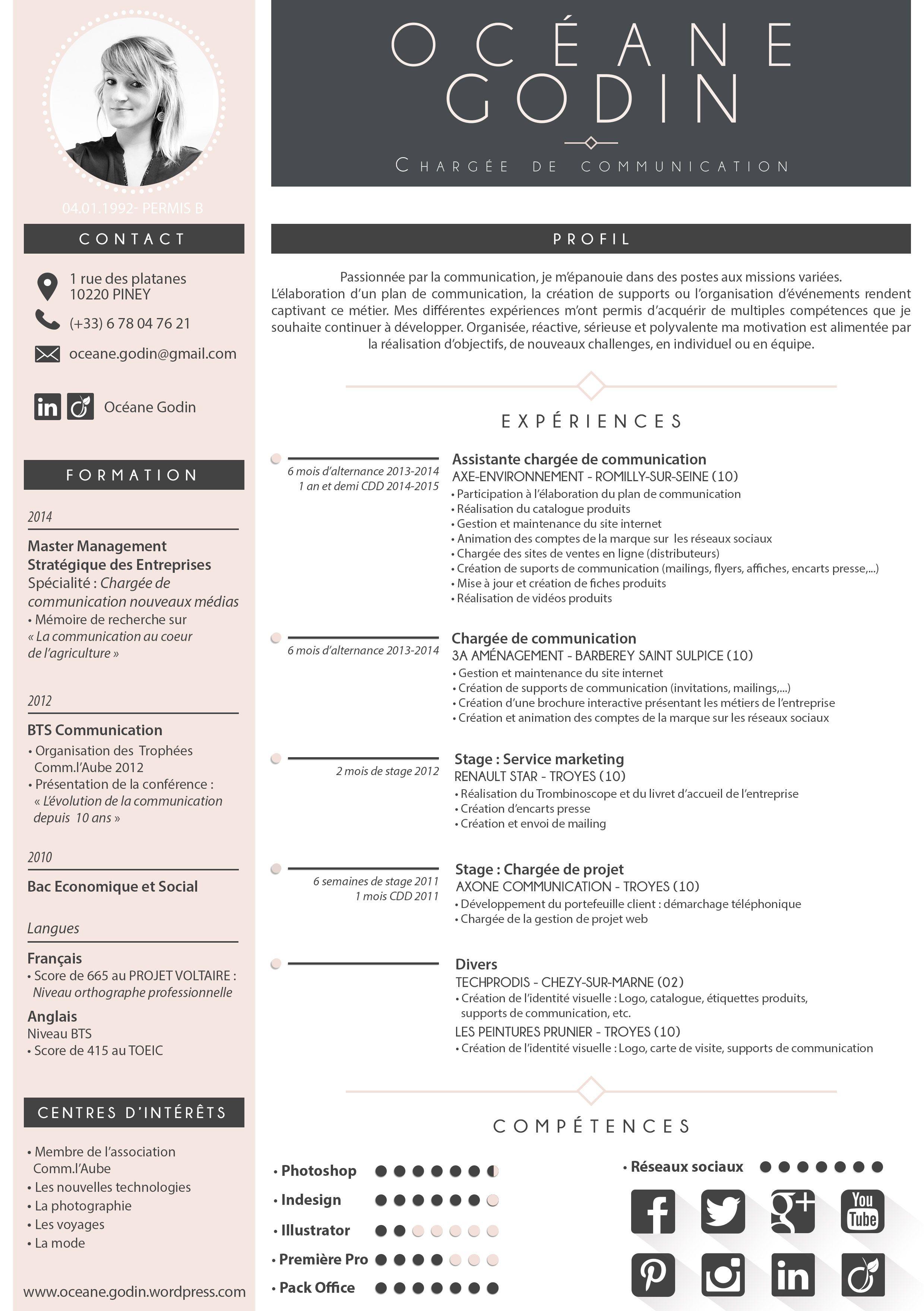 Cv Oceane Godin Juillet 2015 Curriculum Vitae Resume Examples Business Infographic