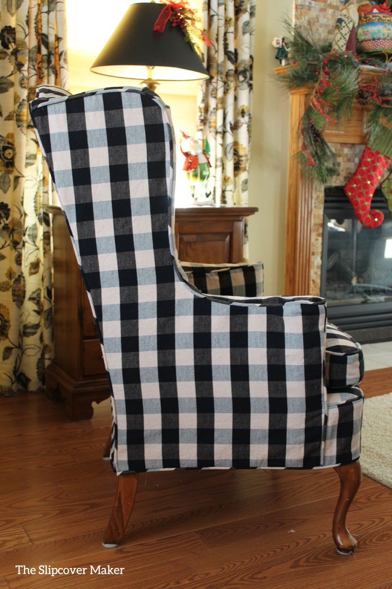 Custom Fit Slipcover In Classic Black/natural Buffalo Check. Goes With  Everything!