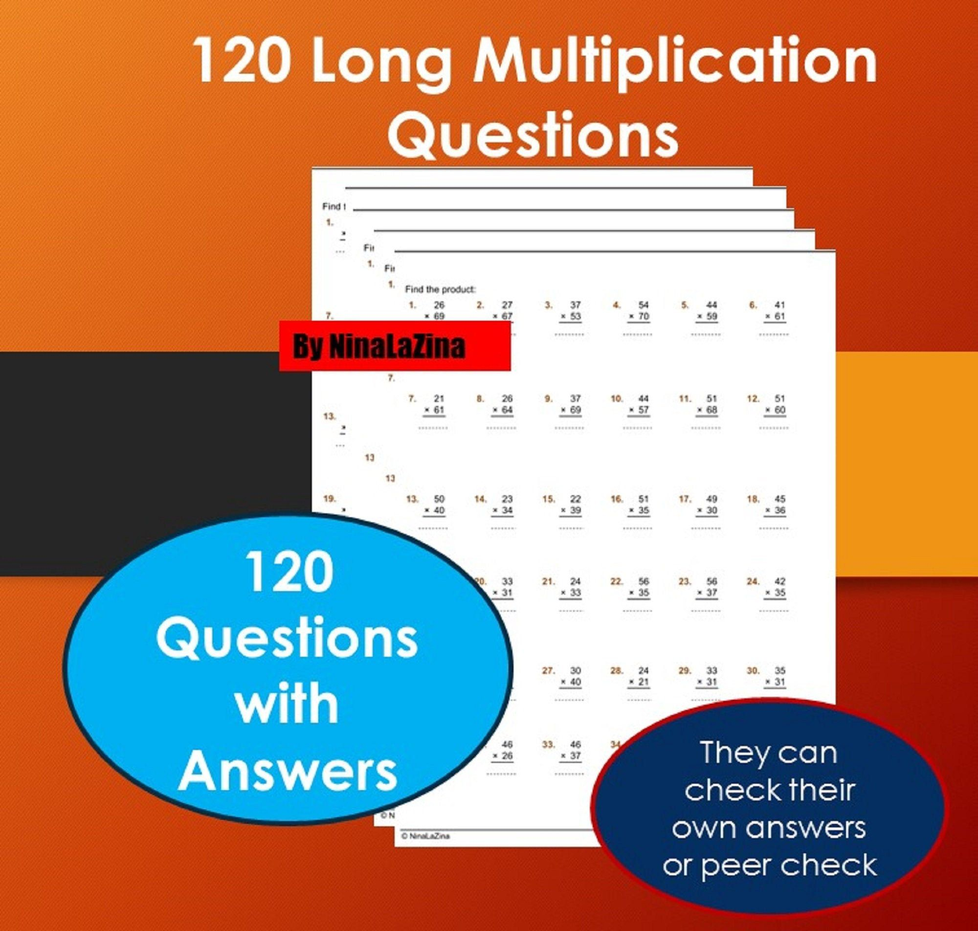Long Multiplication Worksheets Math Drill With 120