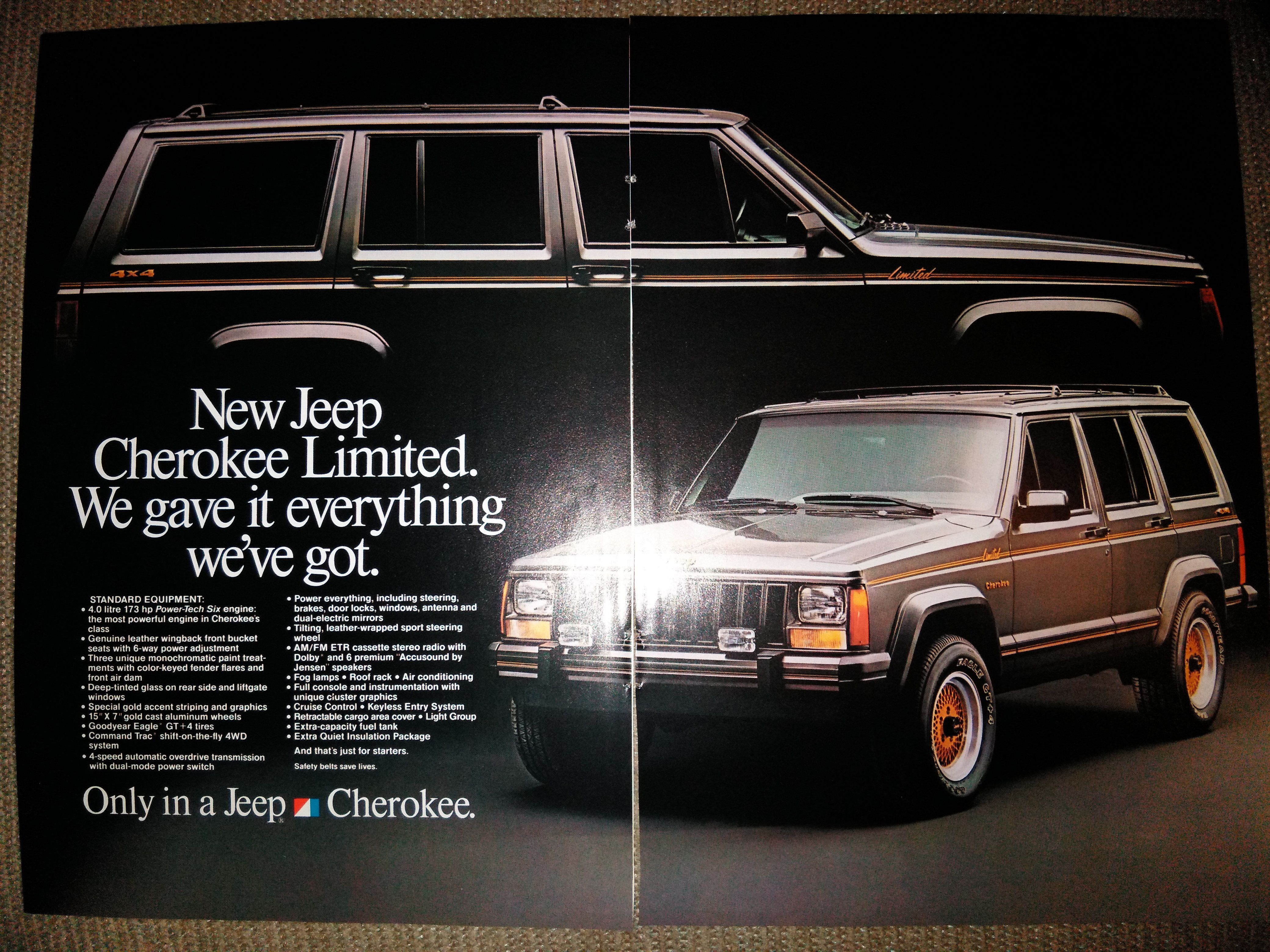 1987 Jeep Cherokee Limited ad from National Geographic, May 1987 ...