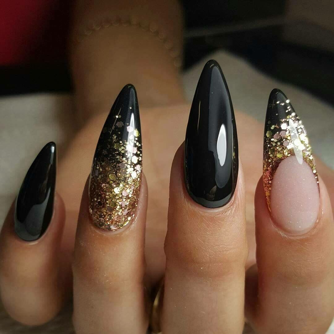 Black and Gold Stiletto Nail Art - Black And Gold Nail Inspo Pinterest Gold, Black And Nail Nail