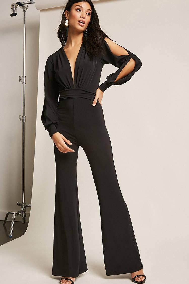 884b7fb442f8 Plunging Flare Jumpsuit    38.00 USD    Forever 21